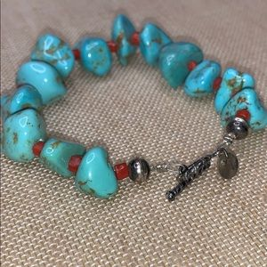 Turquoise and red bead spacers bracelet
